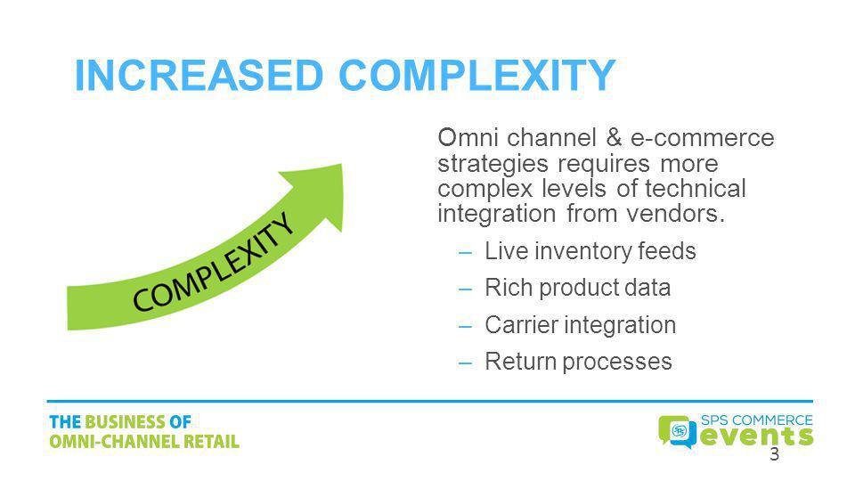 Increased Complexity Omni channel & e-commerce strategies requires more complex levels of technical integration from vendors.