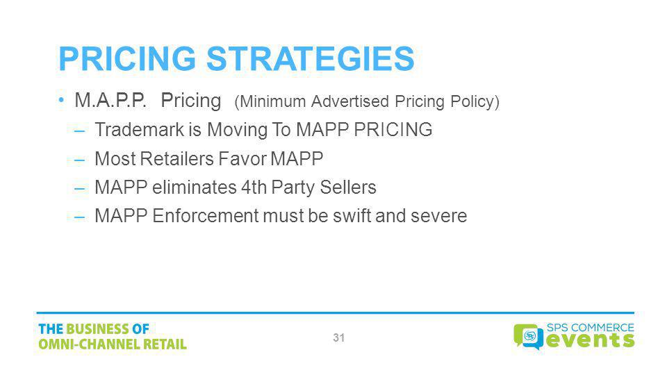 Pricing Strategies M.A.P.P. Pricing (Minimum Advertised Pricing Policy) Trademark is Moving To MAPP PRICING.
