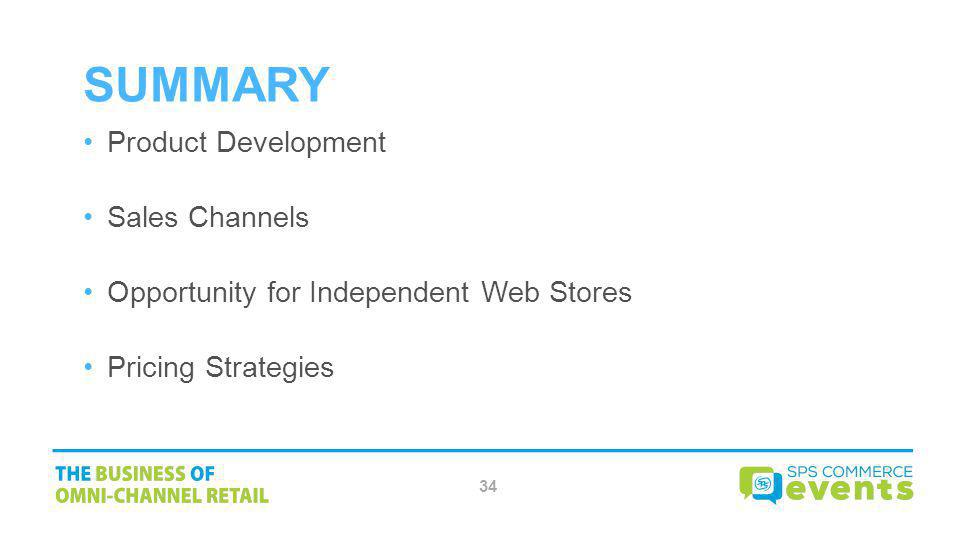 Summary Product Development Sales Channels