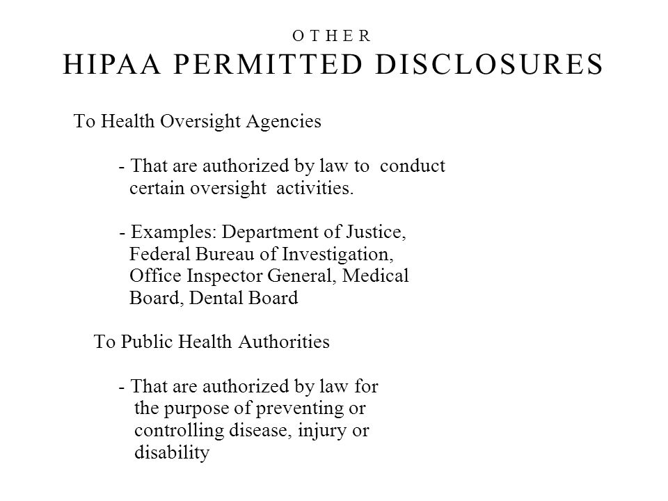 OTHER HIPAA PERMITTED DISCLOSURES