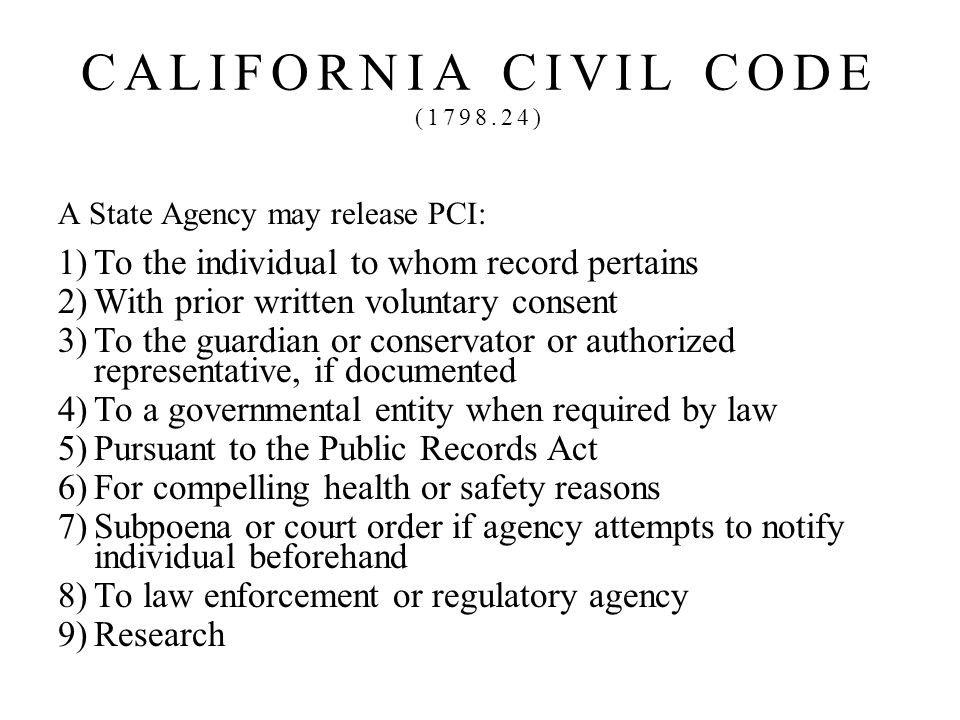 CALIFORNIA CIVIL CODE ( )