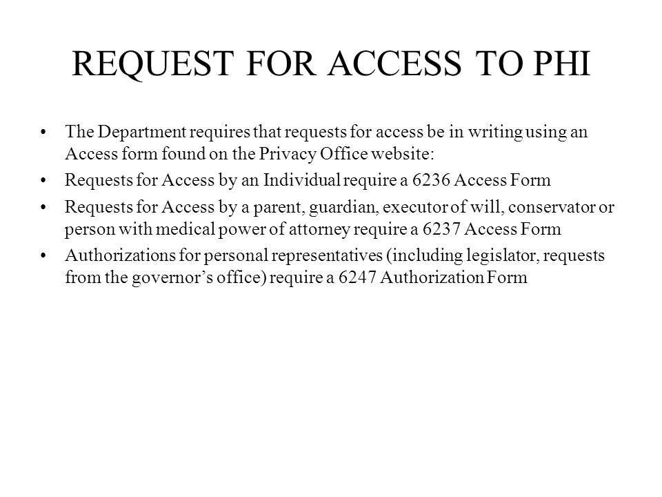 REQUEST FOR ACCESS TO PHI
