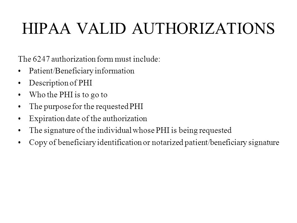 HIPAA VALID AUTHORIZATIONS
