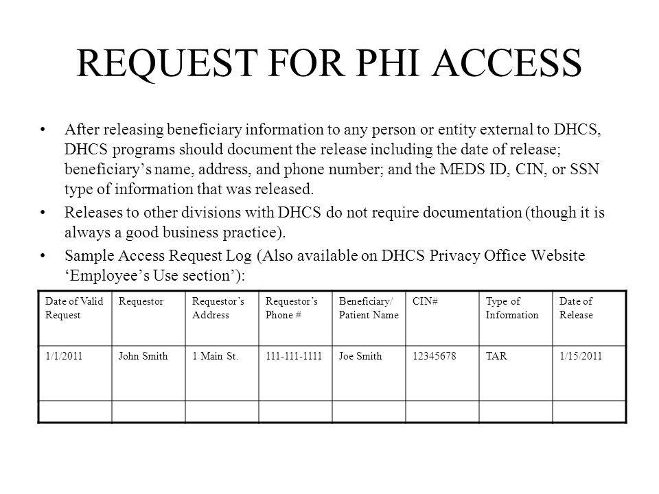 REQUEST FOR PHI ACCESS