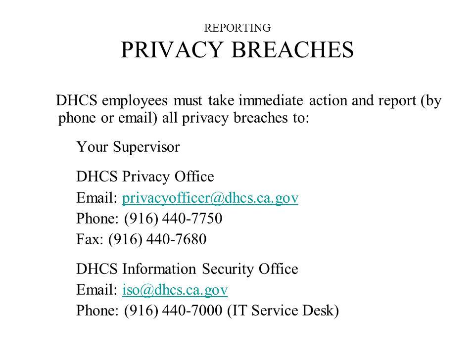 REPORTING PRIVACY BREACHES