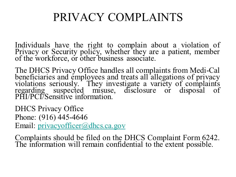 PRIVACY COMPLAINTS