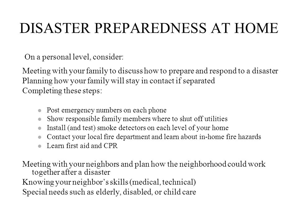 DISASTER PREPAREDNESS AT HOME