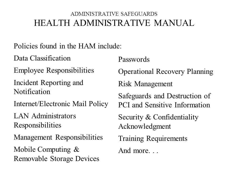 ADMINISTRATIVE SAFEGUARDS HEALTH ADMINISTRATIVE MANUAL