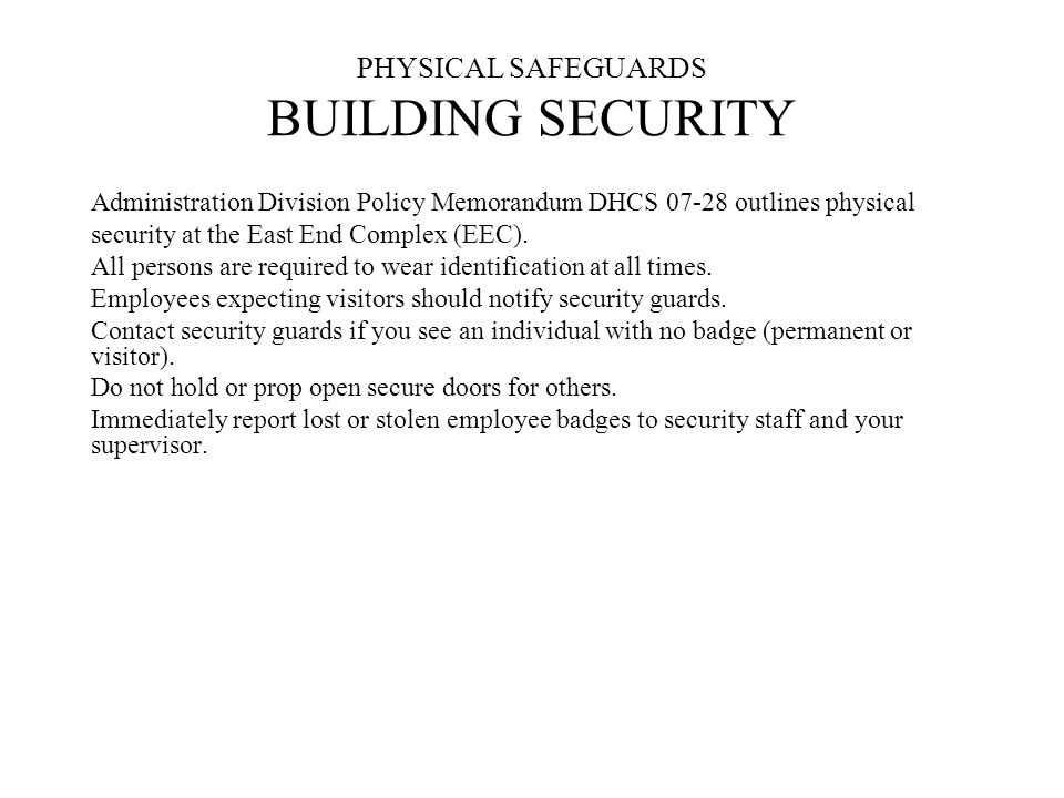 PHYSICAL SAFEGUARDS BUILDING SECURITY