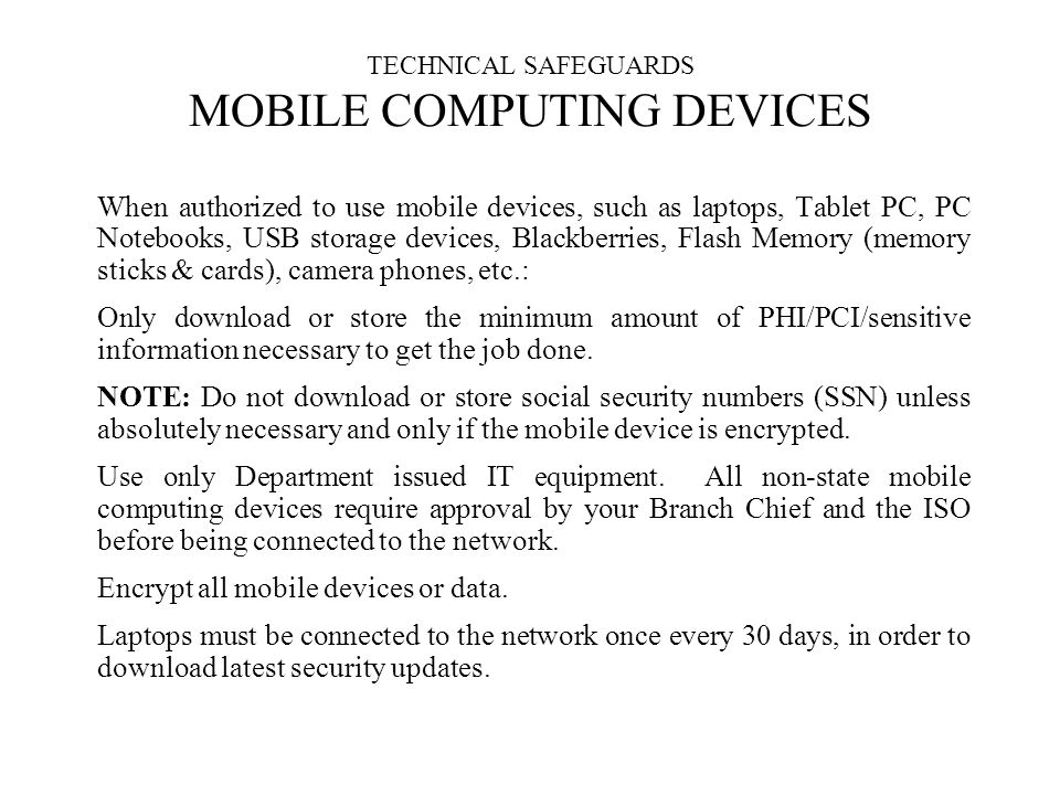 TECHNICAL SAFEGUARDS MOBILE COMPUTING DEVICES