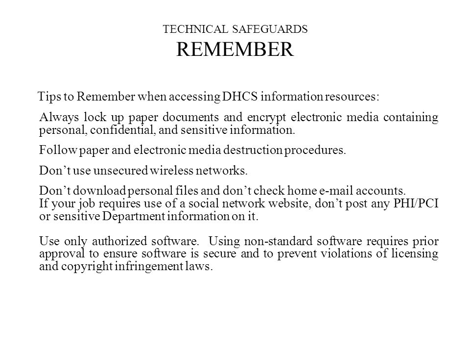 TECHNICAL SAFEGUARDS REMEMBER