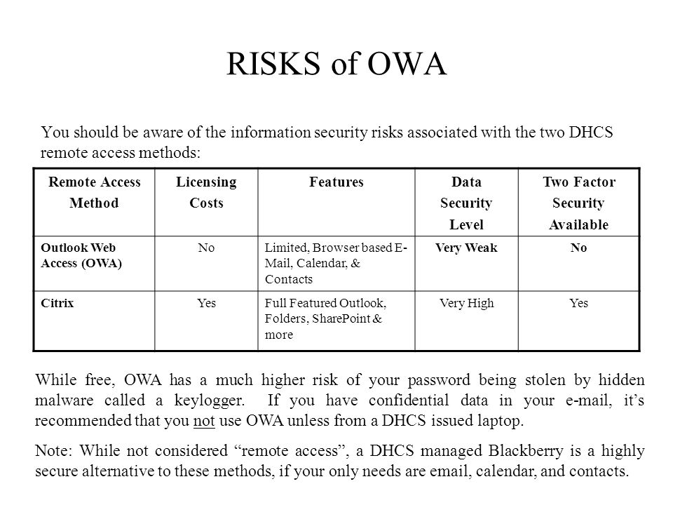 RISKS of OWA You should be aware of the information security risks associated with the two DHCS remote access methods: