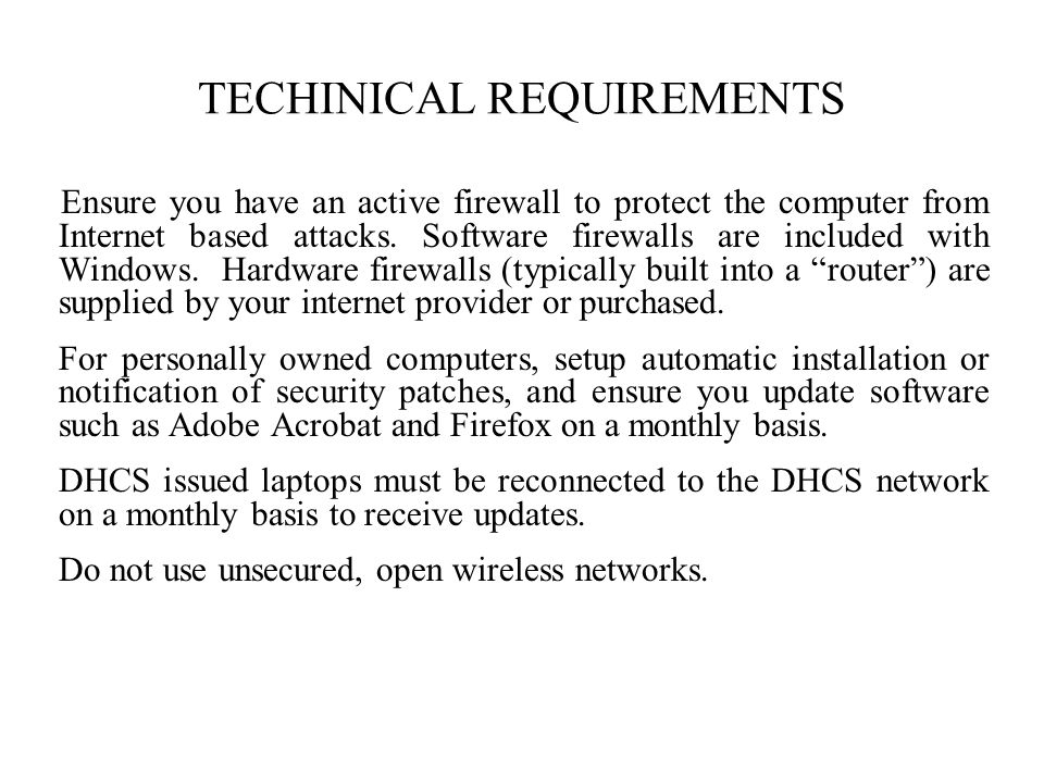 TECHINICAL REQUIREMENTS