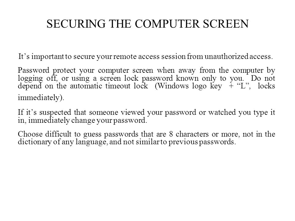 SECURING THE COMPUTER SCREEN