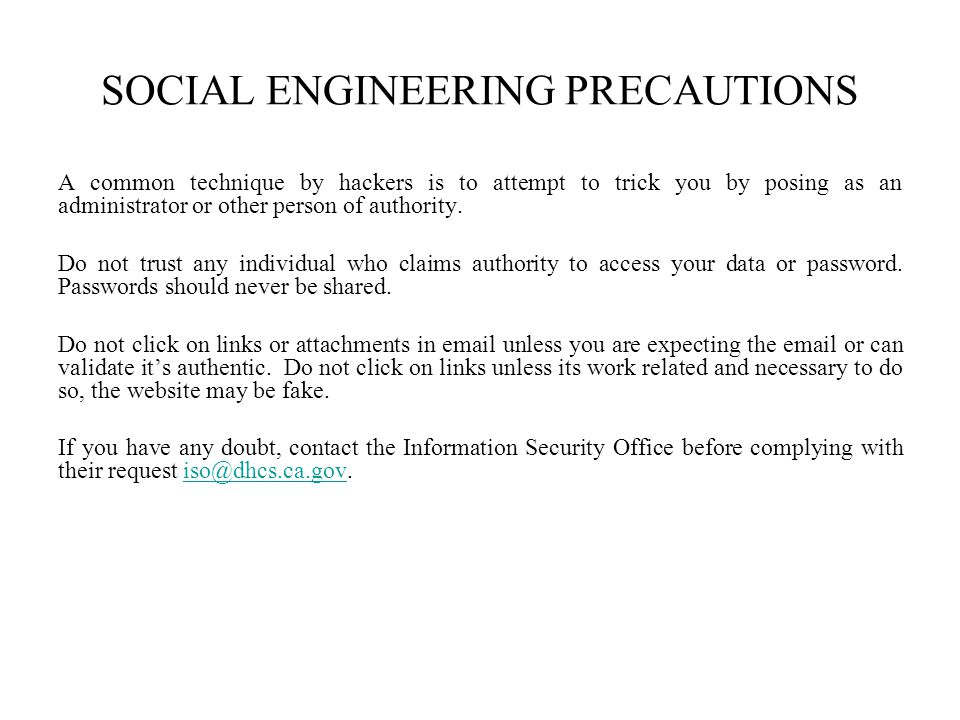 SOCIAL ENGINEERING PRECAUTIONS