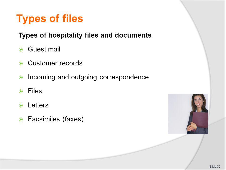 Types of files Types of hospitality files and documents Guest mail