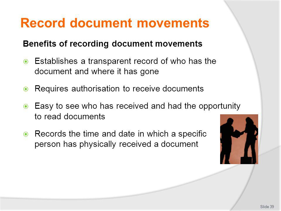 Record document movements