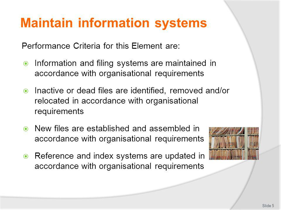 Maintain information systems