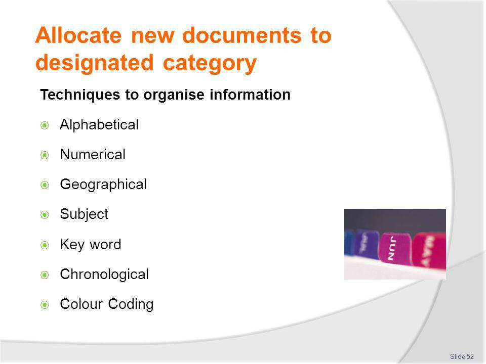 Allocate new documents to designated category