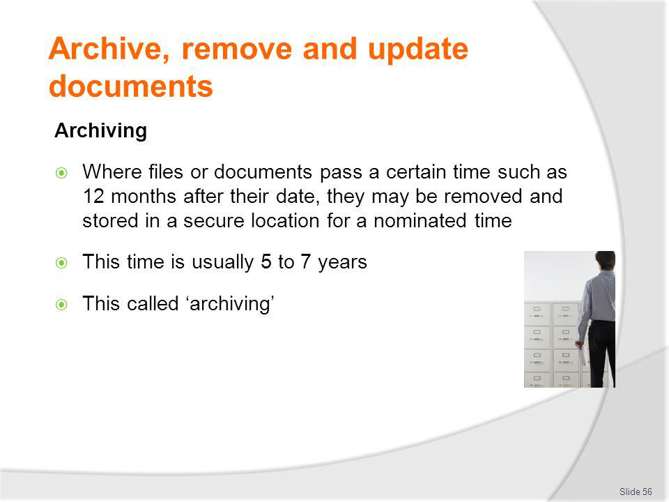 Archive, remove and update documents