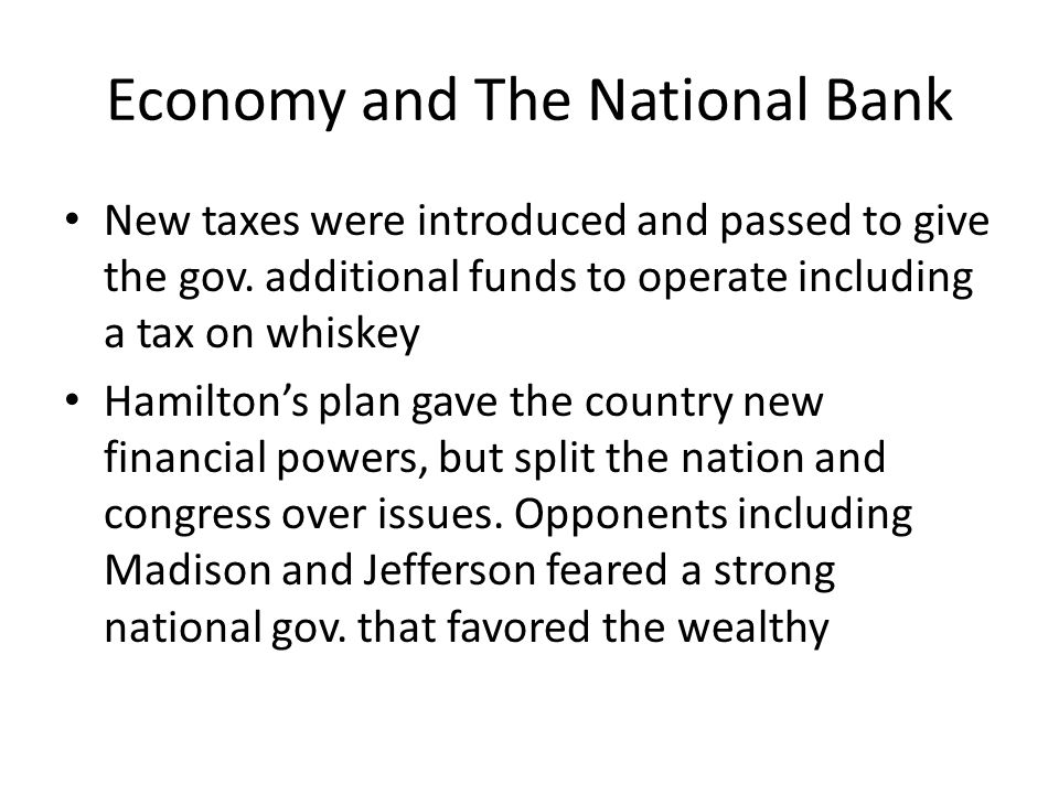 Economy and The National Bank