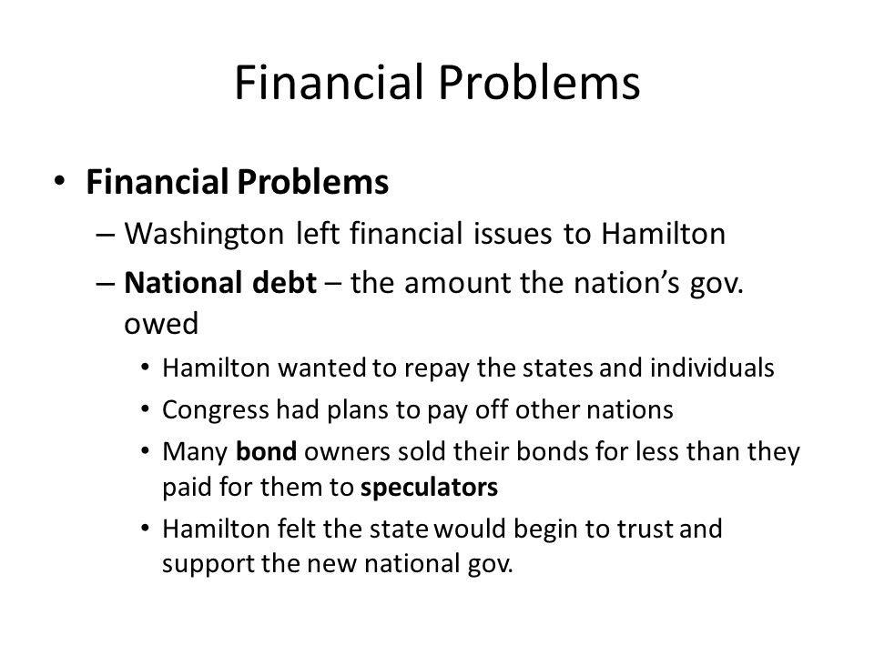 Financial Problems Financial Problems