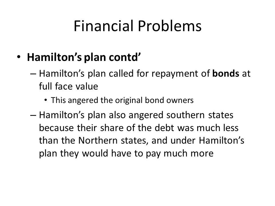 Financial Problems Hamilton's plan contd'