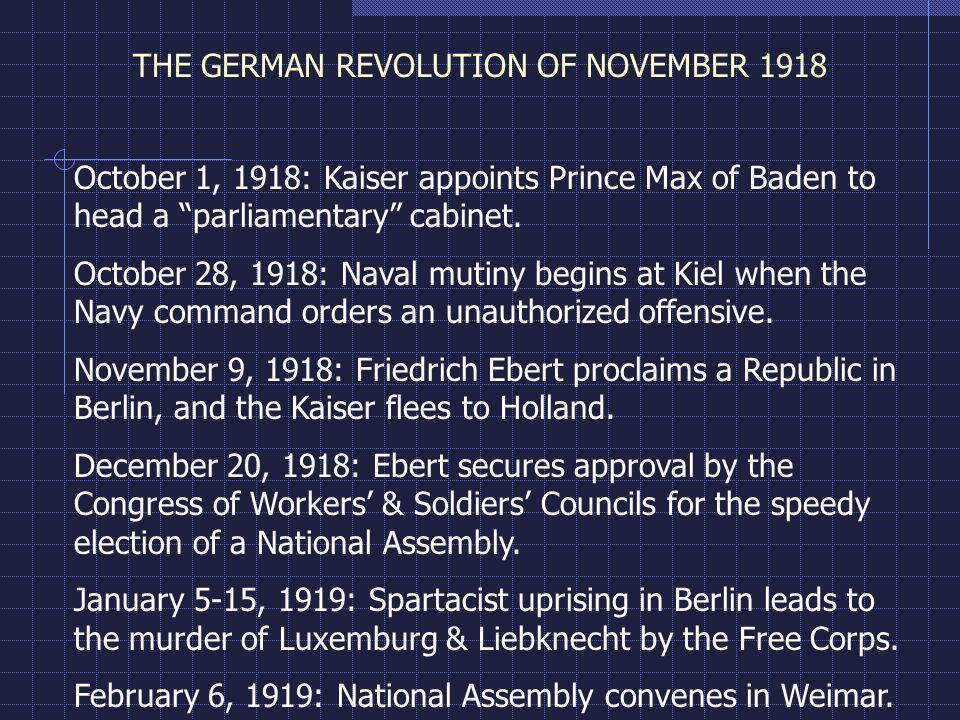 THE GERMAN REVOLUTION OF NOVEMBER 1918