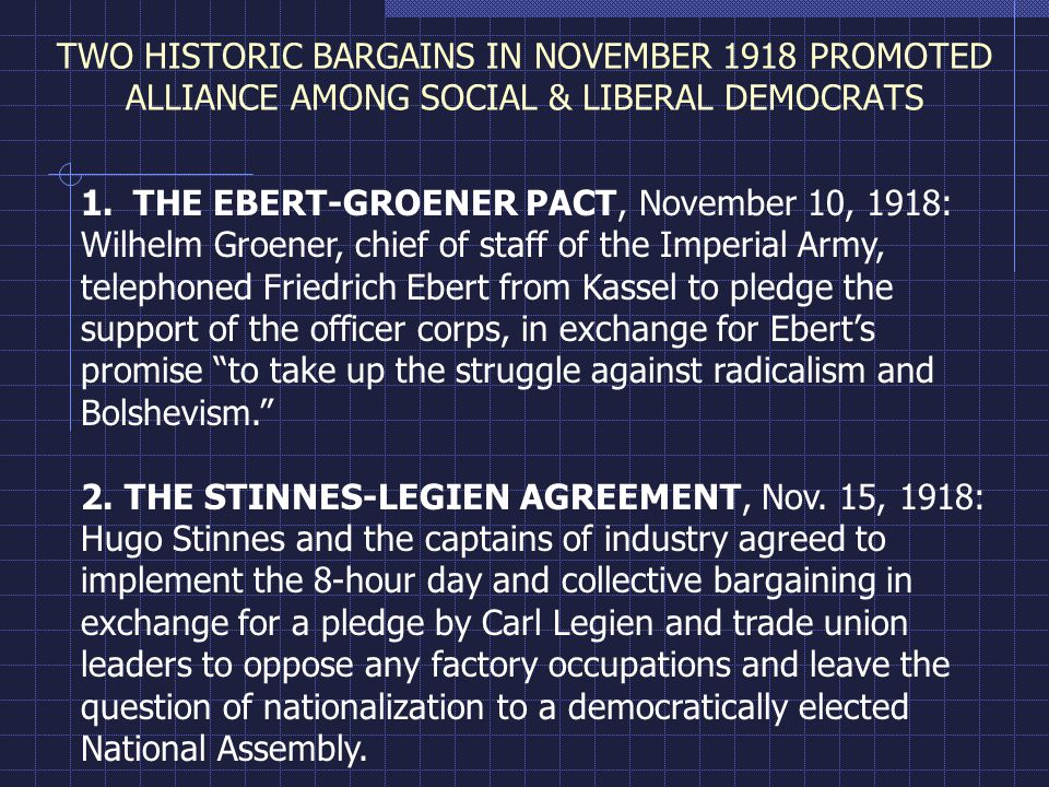 TWO HISTORIC BARGAINS IN NOVEMBER 1918 PROMOTED ALLIANCE AMONG SOCIAL & LIBERAL DEMOCRATS