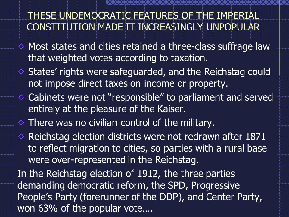 THESE UNDEMOCRATIC FEATURES OF THE IMPERIAL CONSTITUTION MADE IT INCREASINGLY UNPOPULAR