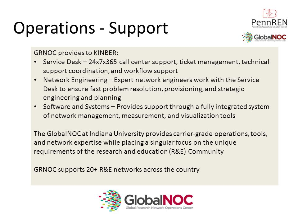 Operations - Support GRNOC provides to KINBER: