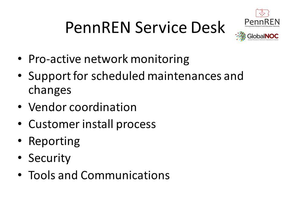 PennREN Service Desk Pro-active network monitoring