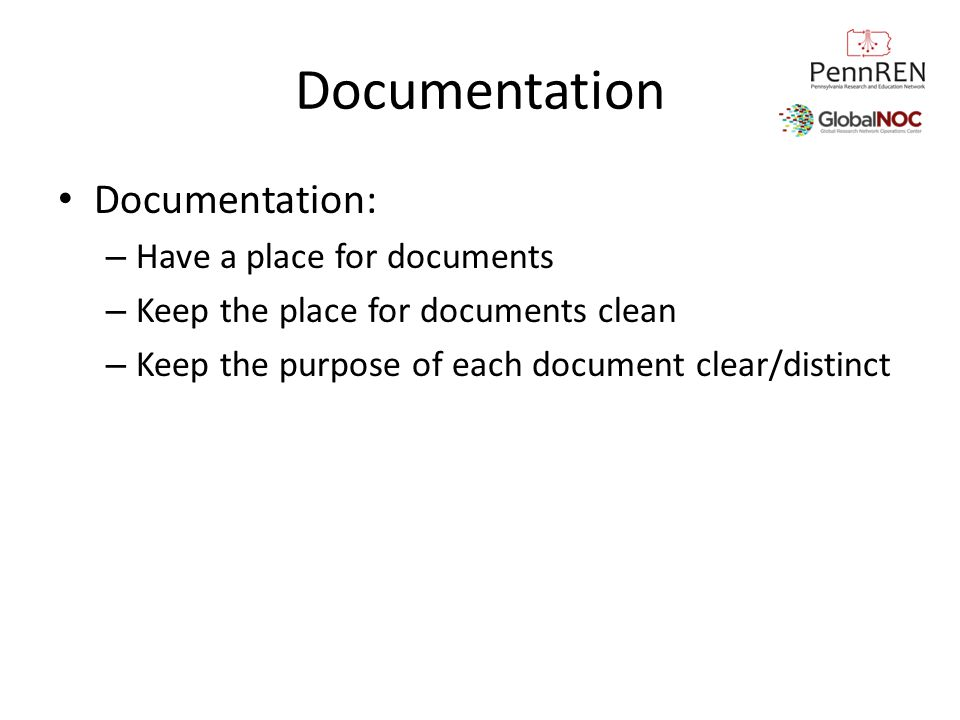 Documentation Documentation: Have a place for documents