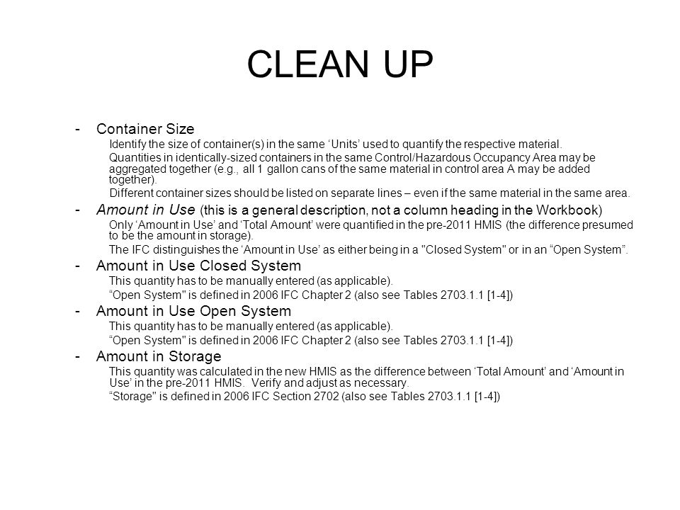 CLEAN UP Container Size