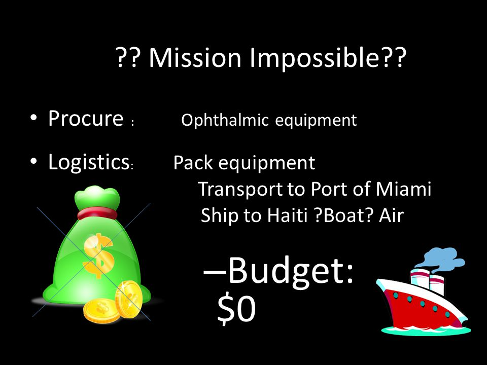 Budget: $0 Mission Impossible Procure : Ophthalmic equipment