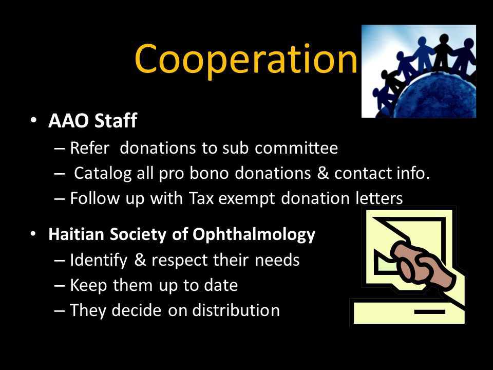 Cooperation AAO Staff Refer donations to sub committee