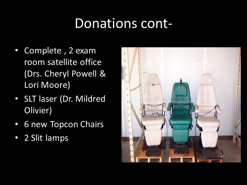 Donations cont- Complete , 2 exam room satellite office (Drs. Cheryl Powell & Lori Moore) SLT laser (Dr. Mildred Olivier)