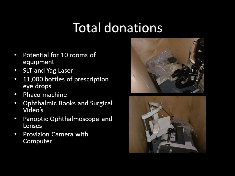 Total donations Potential for 10 rooms of equipment SLT and Yag Laser