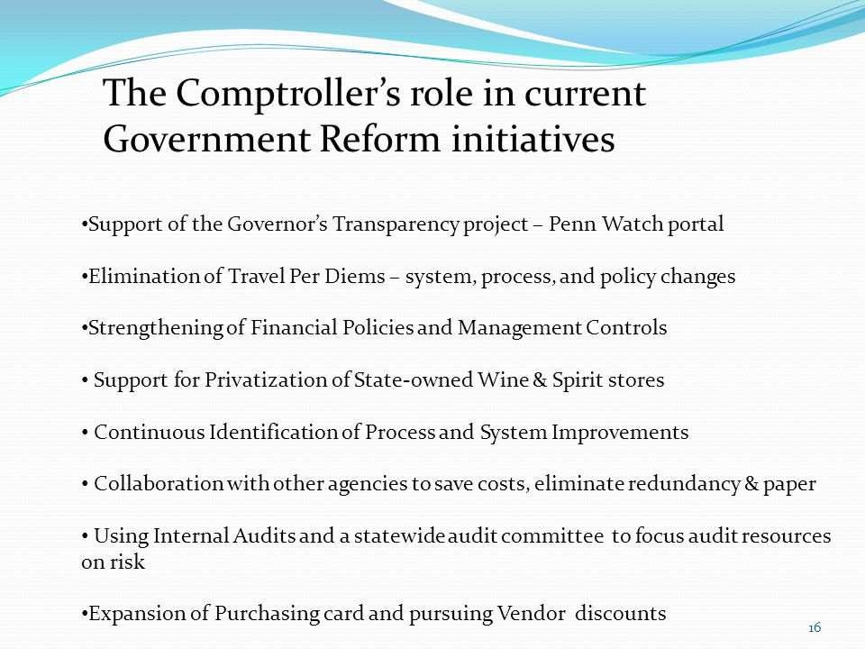The Comptroller's role in current Government Reform initiatives