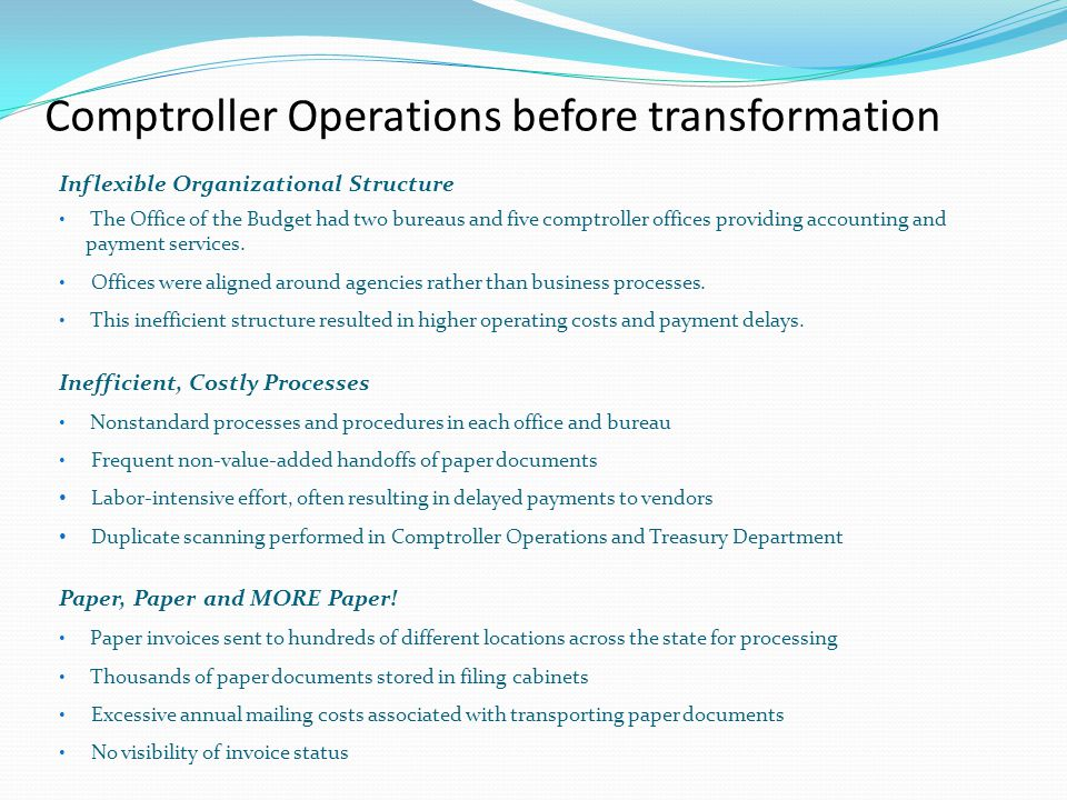 Comptroller Operations before transformation