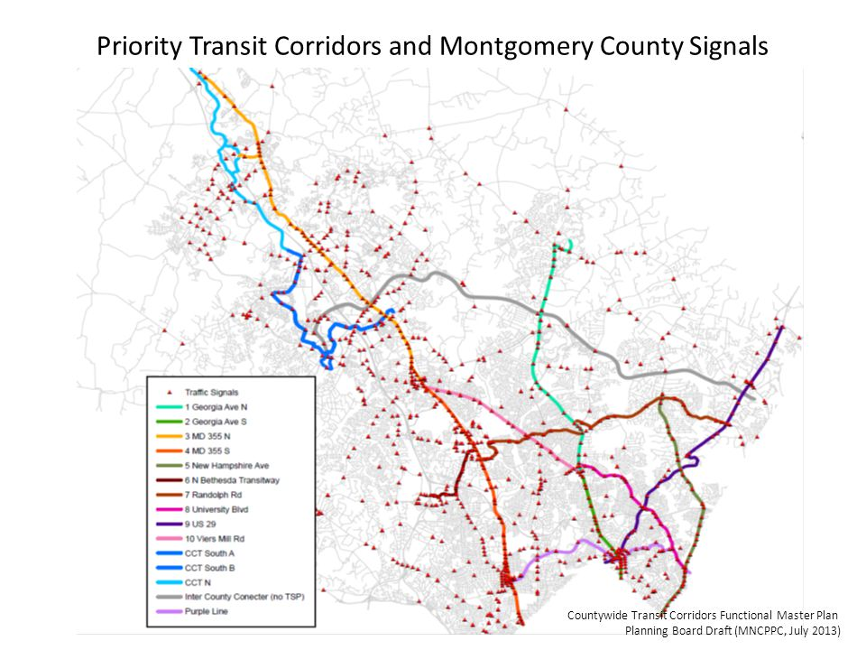 Priority Transit Corridors and Montgomery County Signals