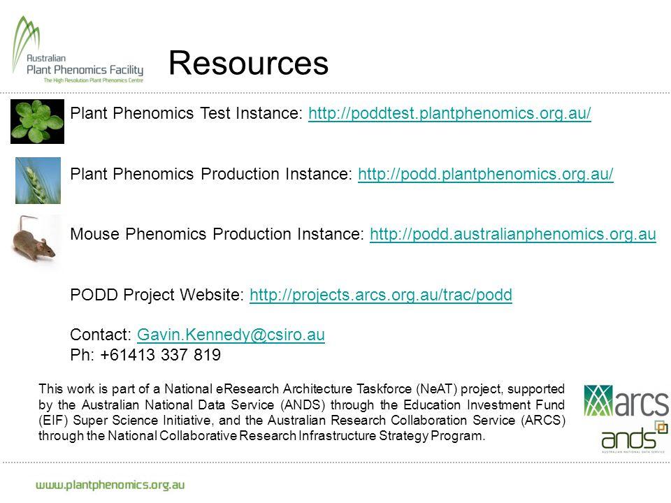 Resources Plant Phenomics Test Instance: http://poddtest.plantphenomics.org.au/