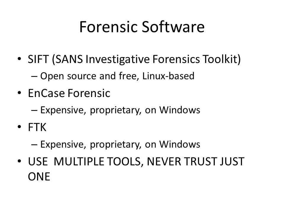 Forensic Software SIFT (SANS Investigative Forensics Toolkit)