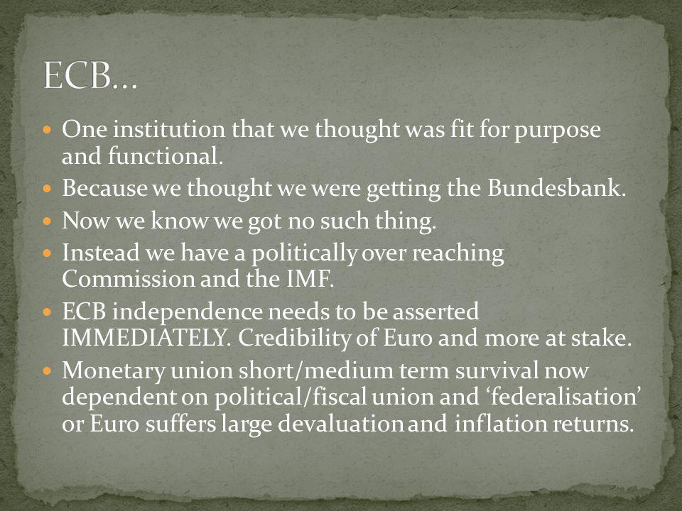 ECB… One institution that we thought was fit for purpose and functional. Because we thought we were getting the Bundesbank.