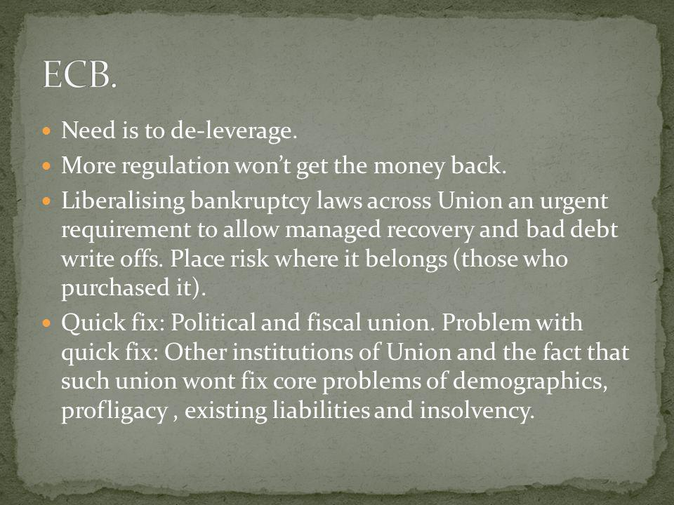 ECB. Need is to de-leverage. More regulation won't get the money back.