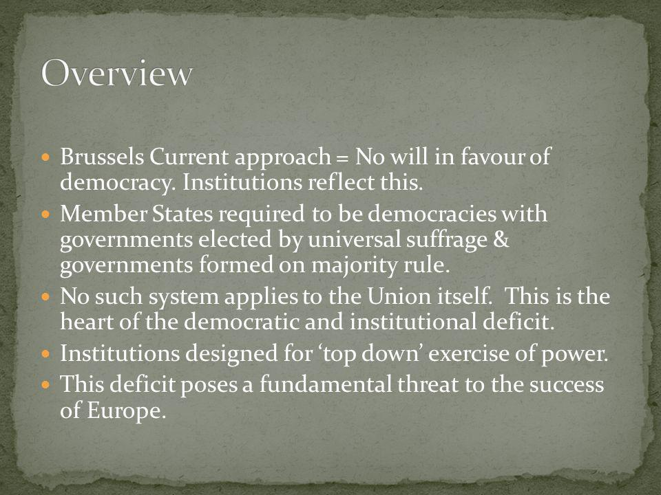 Overview Brussels Current approach = No will in favour of democracy. Institutions reflect this.