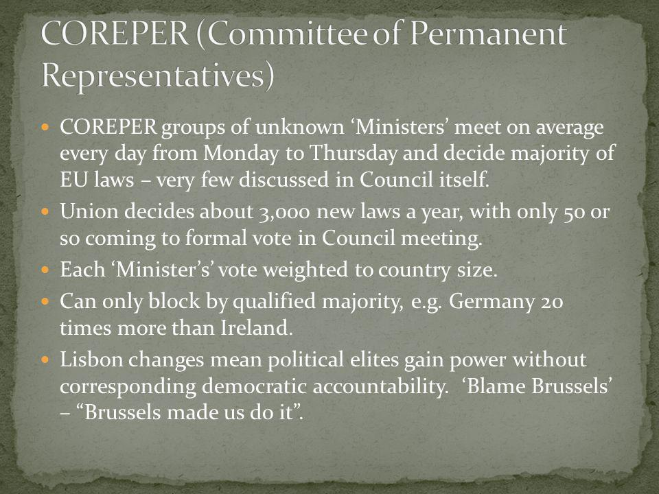 COREPER (Committee of Permanent Representatives)