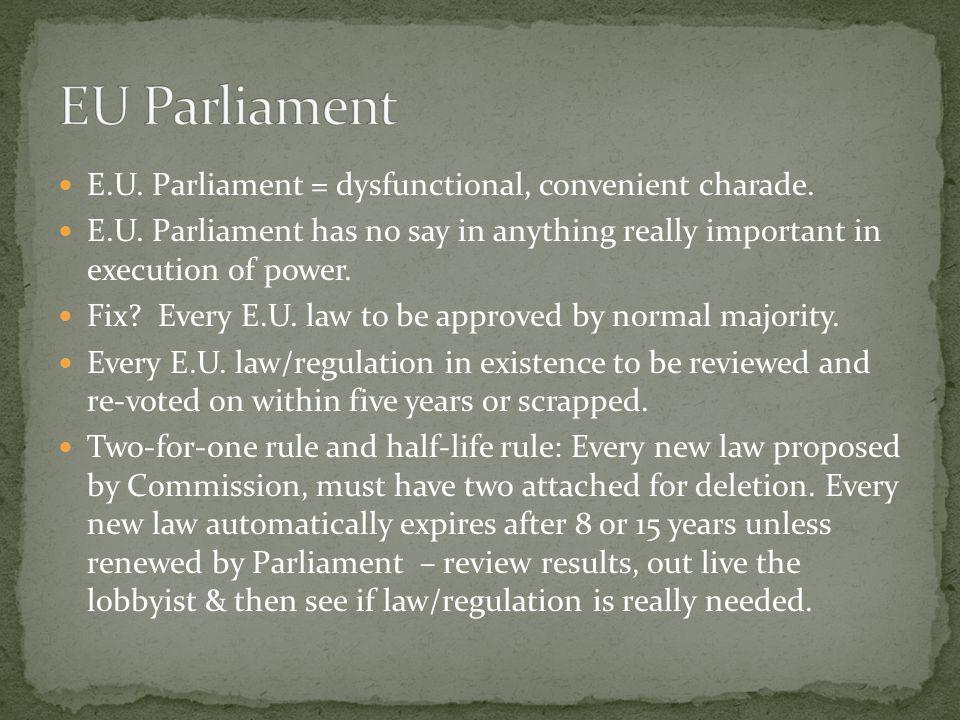 EU Parliament E.U. Parliament = dysfunctional, convenient charade.
