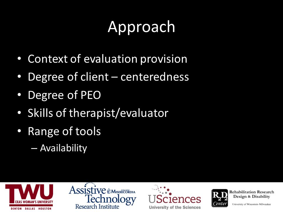 Approach Context of evaluation provision