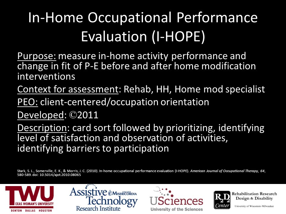In-Home Occupational Performance Evaluation (I-HOPE)